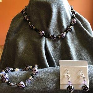 Jewelry - Black, Lavender & Silver Jewelry Set